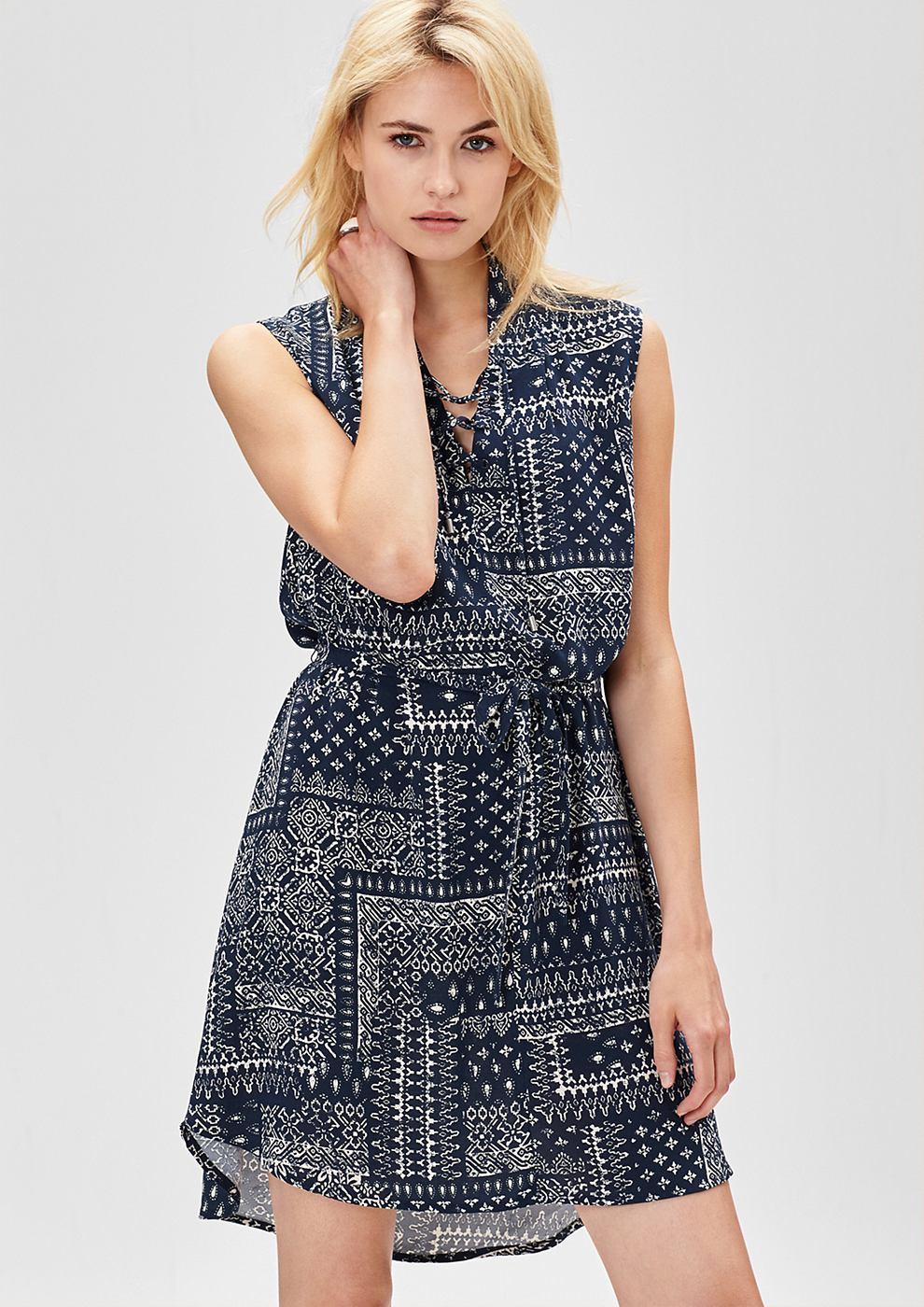 s.Oliver Etnische jurk met vetersluiting blauw