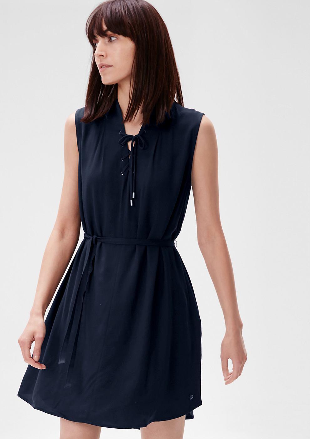 s.Oliver Viscose jurk met veterkoord blauw