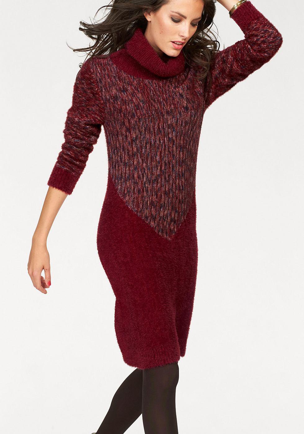 Aniston tricotjurk met col motief-inzet rood