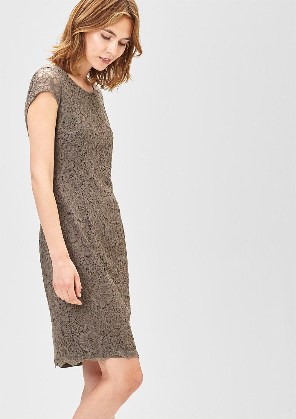 s.Oliver Premium Aansluitende jurk van kant grijs