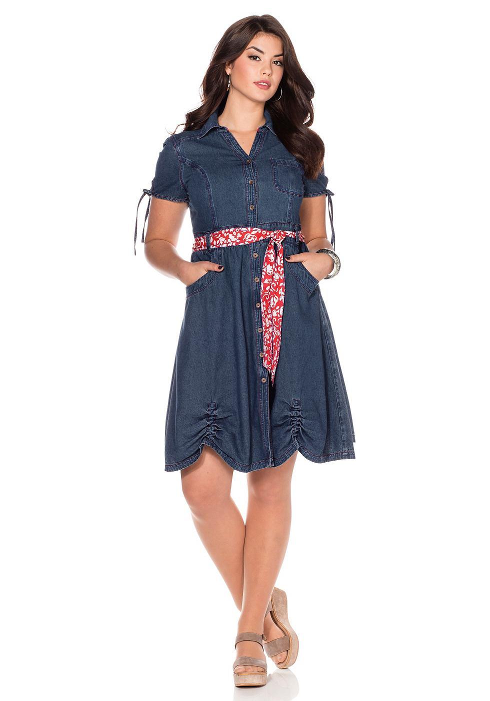 Joe Browns Jeans-jurk met bindceintuur blauw