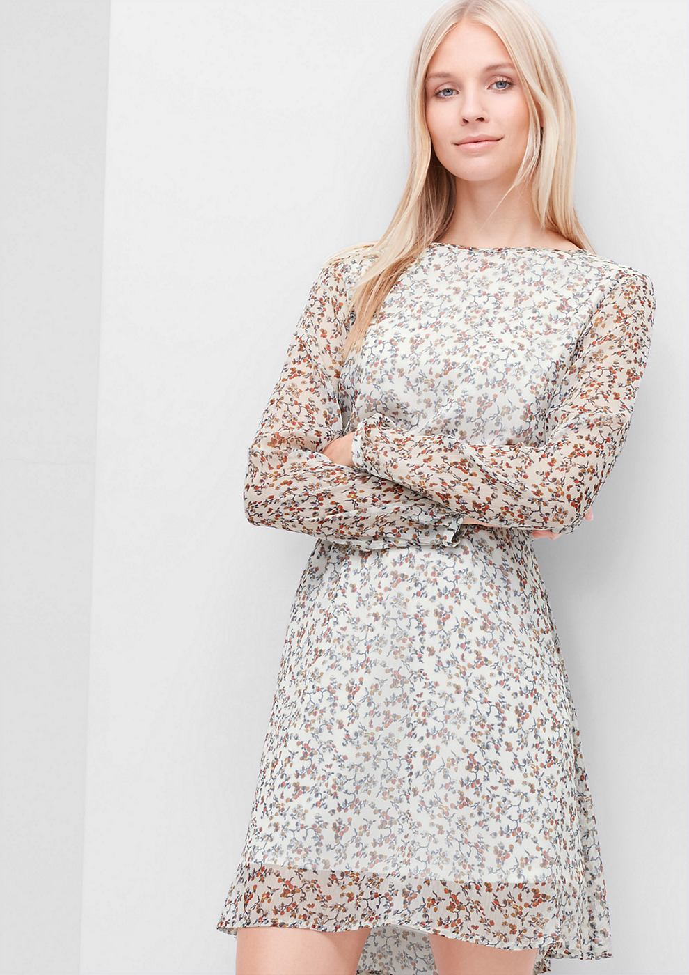s.Oliver Crêpe jurk met een print all-over wit