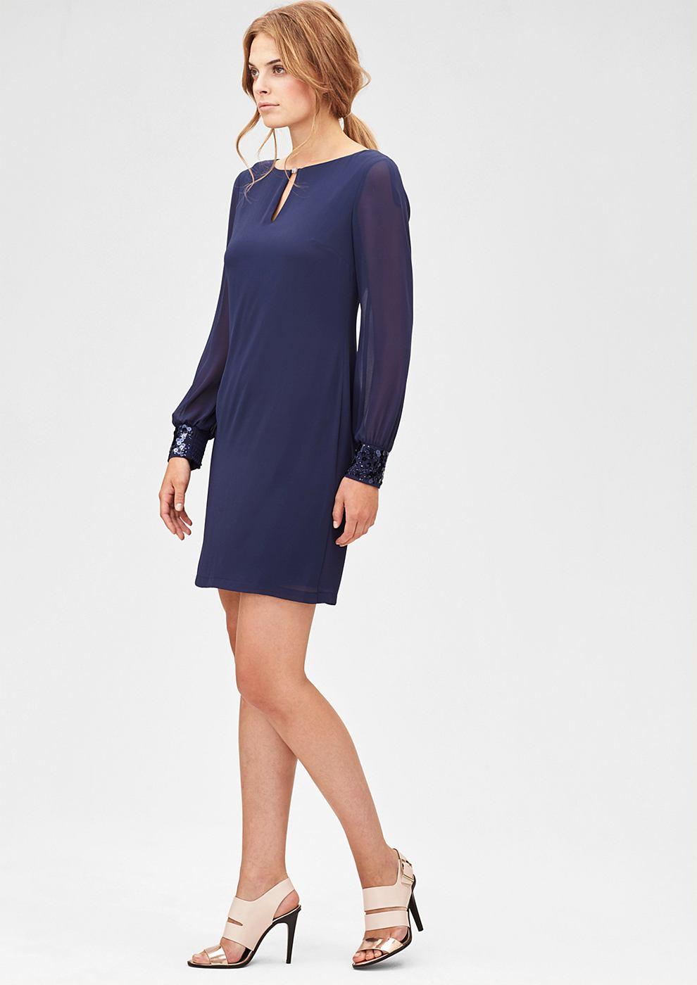 s.Oliver Premium Elegante jurk van chiffon blauw