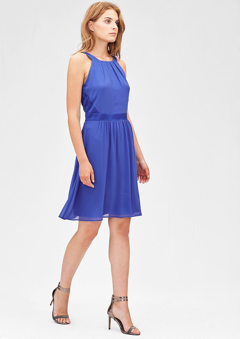 s.Oliver Premium Zwierige chiffon jurk blauw