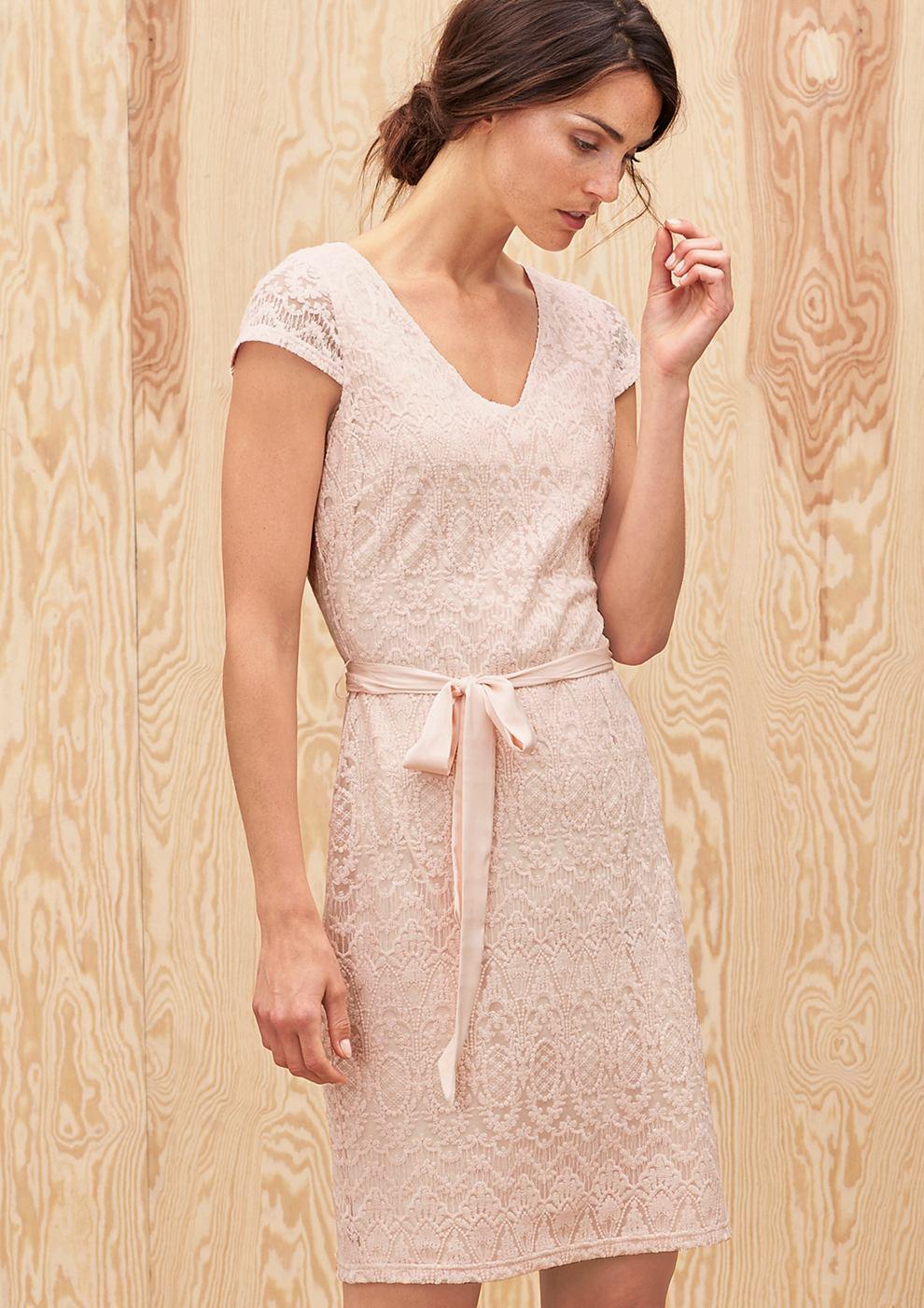 s.Oliver Premium kanten jurk met strikceintuur rood