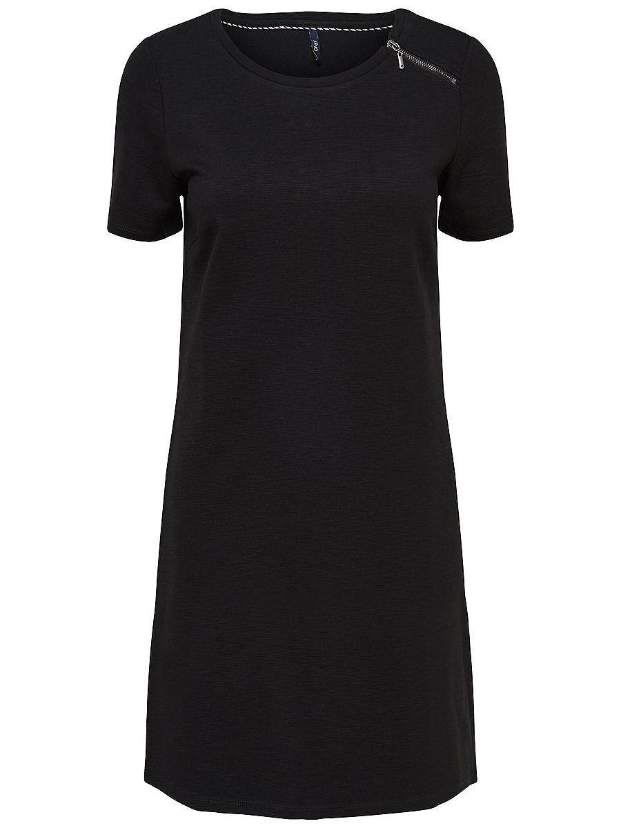 ONLY Rits jurk met korte mouwen zwart