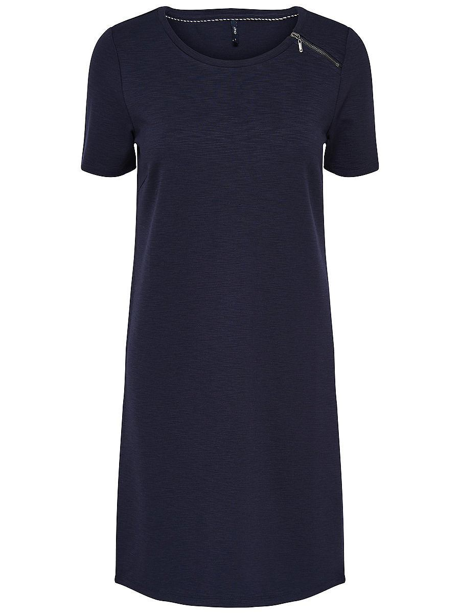 ONLY Rits jurk met korte mouwen blauw