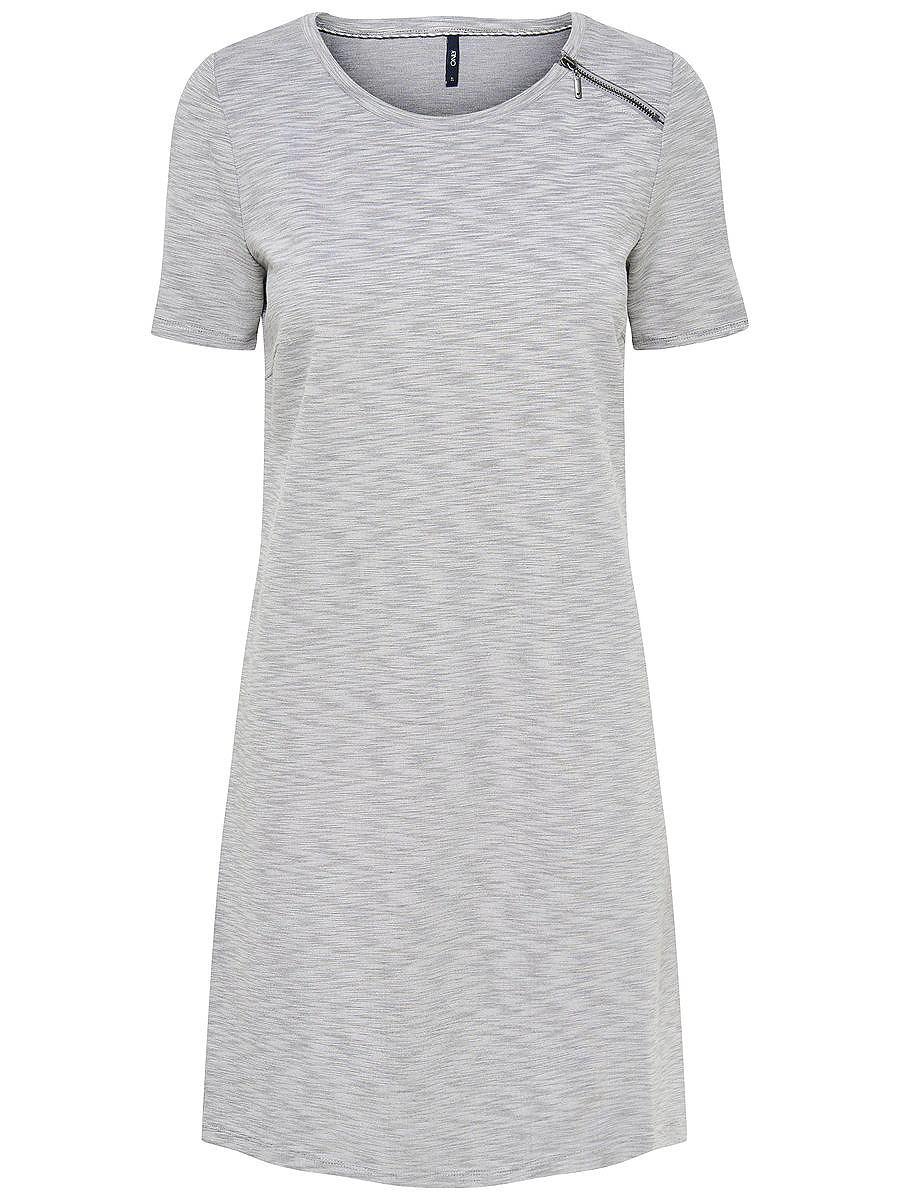ONLY Rits jurk met korte mouwen grijs