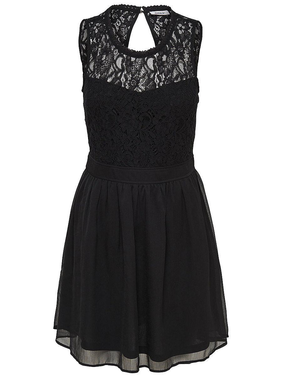 ONLY Mouwloze kanten jurk zwart