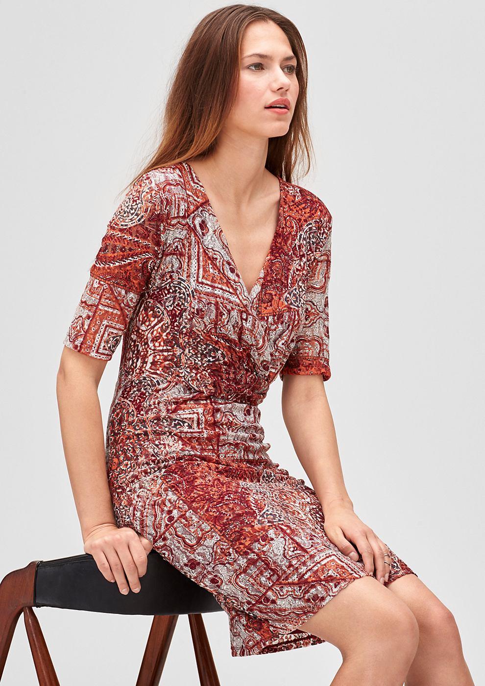 s.Oliver Premium jurk van gaas met hartvormige hals oranje