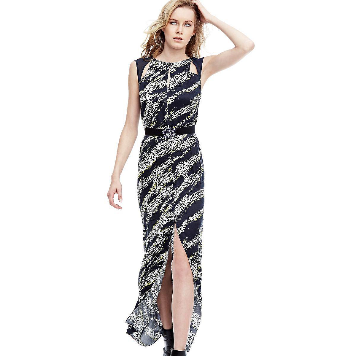 Guess lange jurk van viscose multicolor