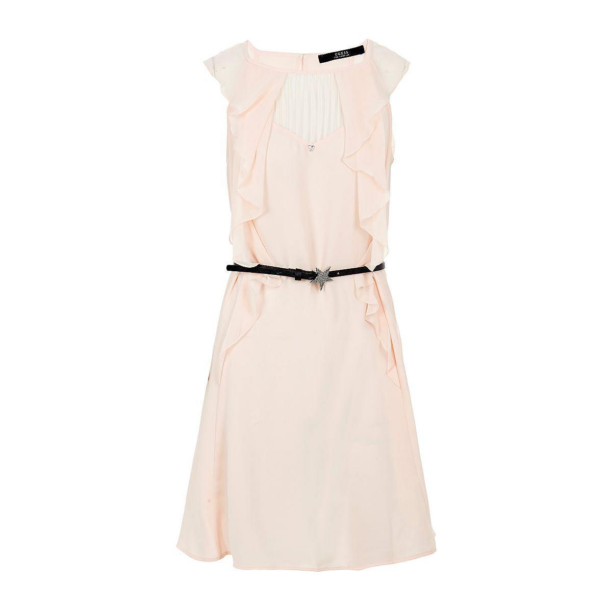 Guess jurk in animal-look en met volants roze