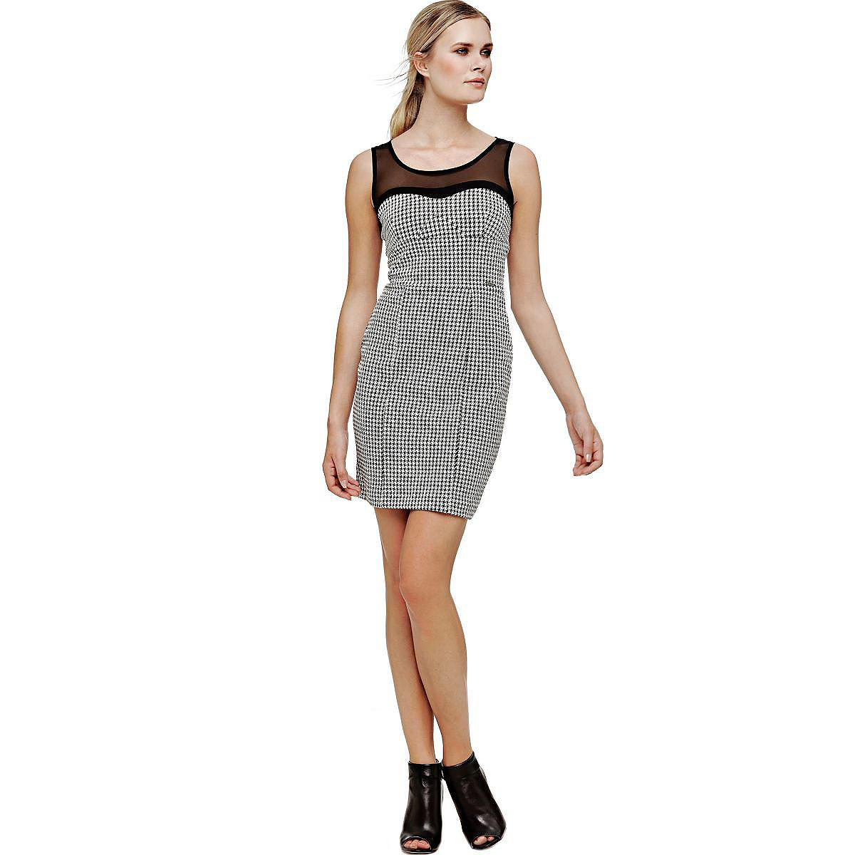 Guess jurk met halftransparante inzet zwart