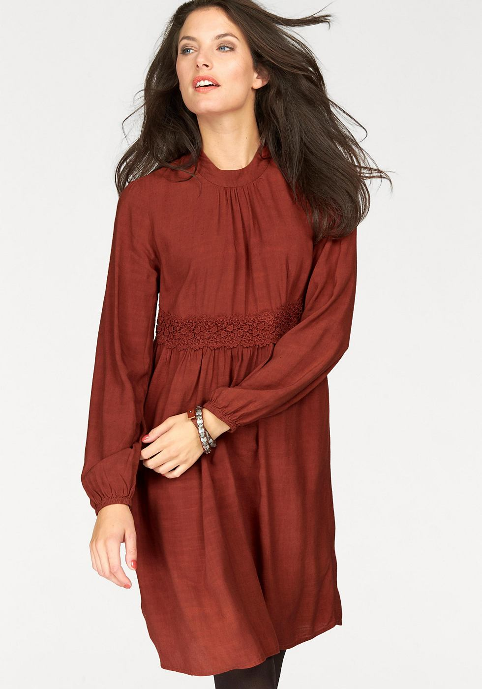 Aniston jurk in A-lijn bruin