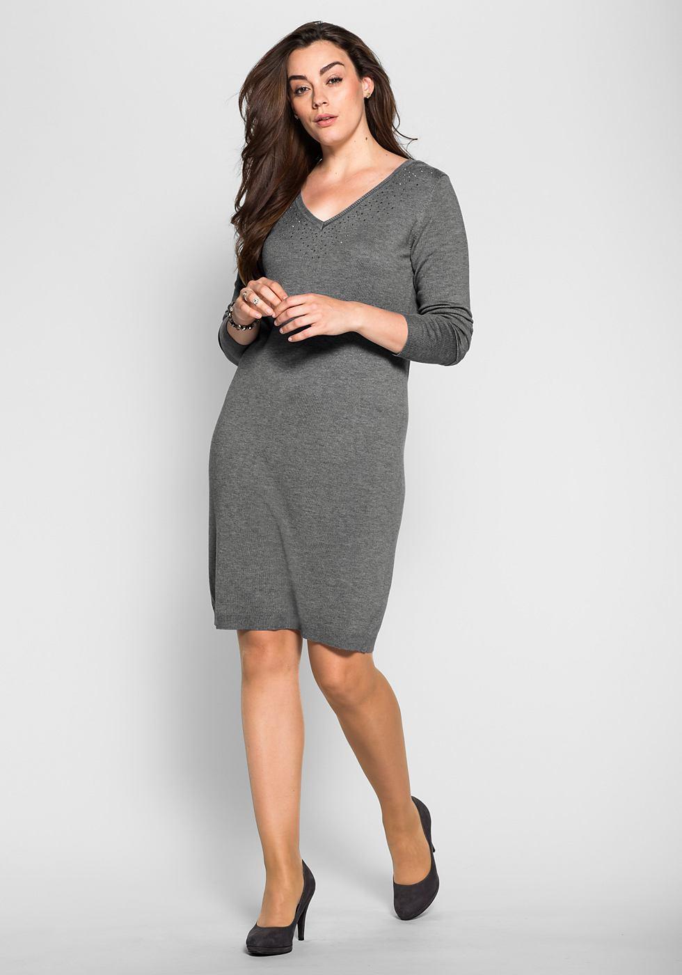 Sheego Style tricotjurk met siersteentjes grijs