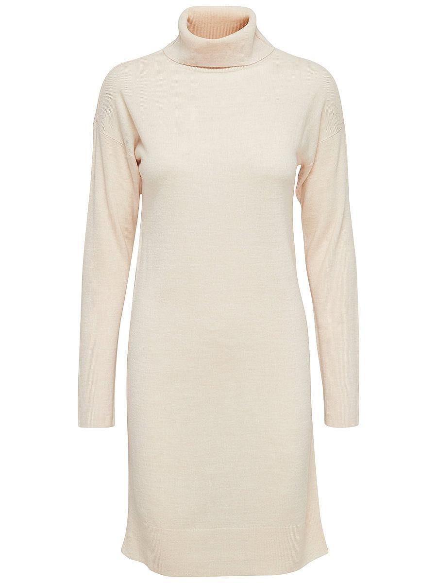 ONLY Hoge kraag gebreide jurk wit