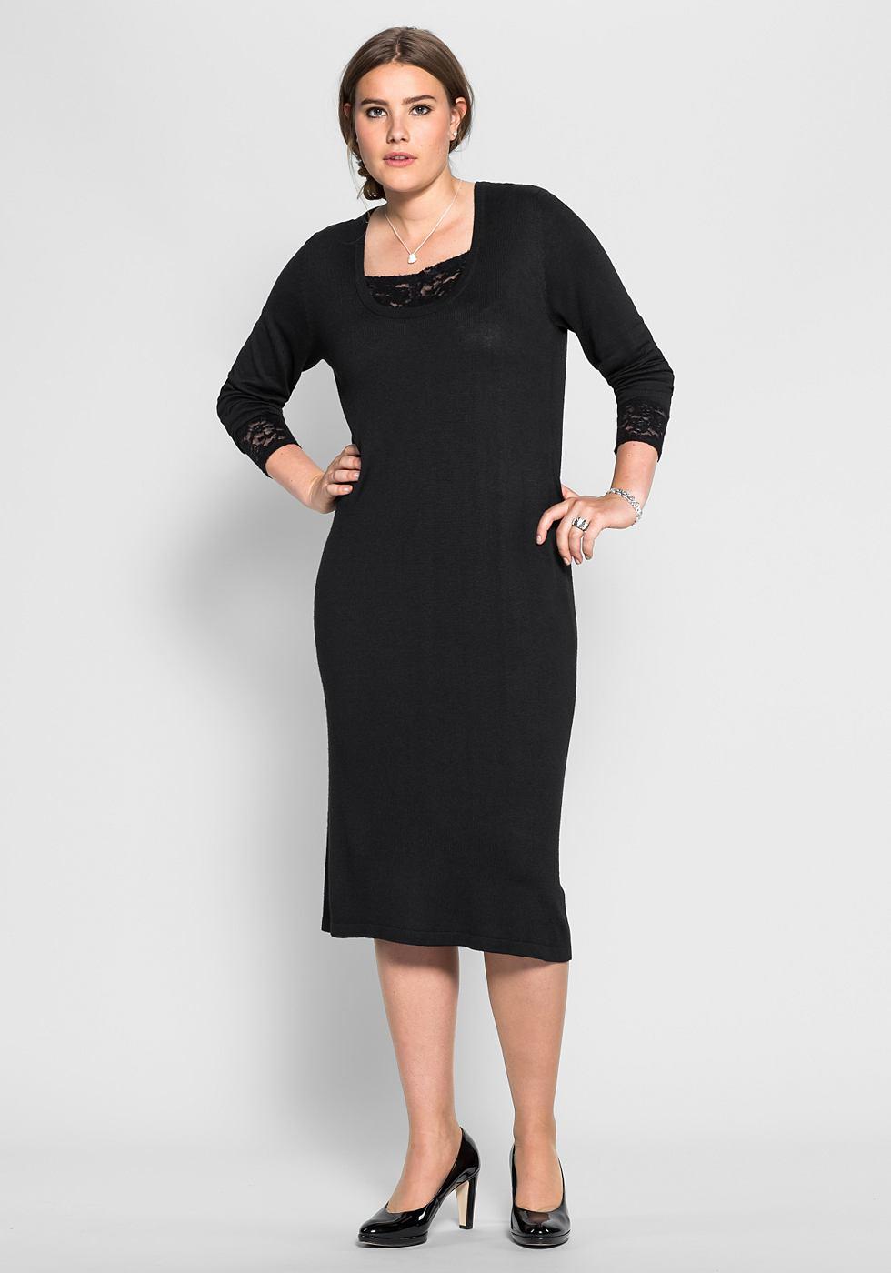 Sheego Style tricotjurk met kant zwart