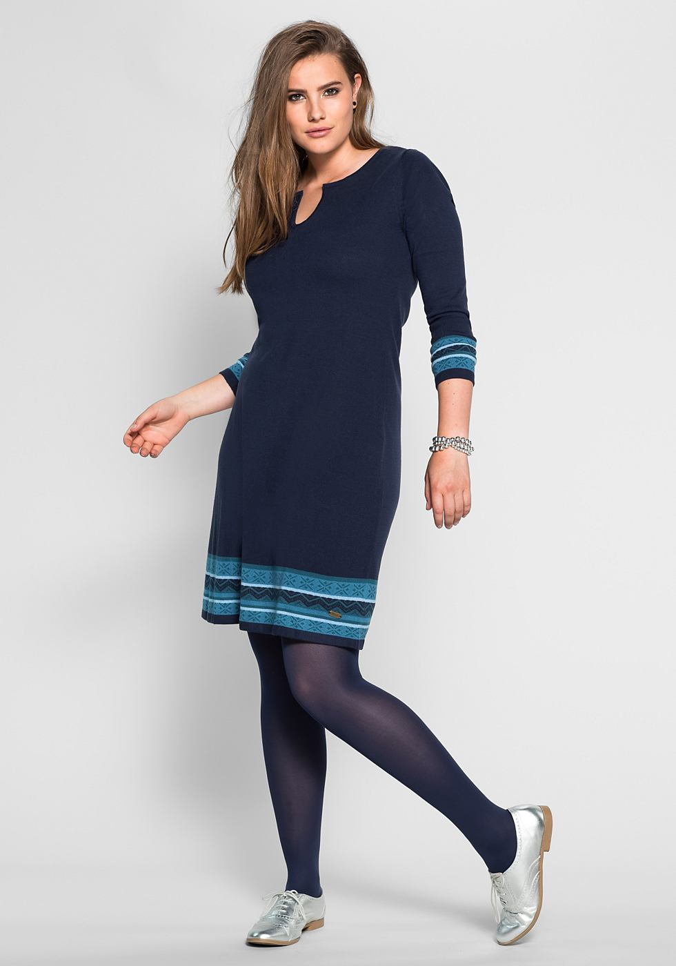 Sheego Casual tricotjurk met jacquard-randdessin blauw