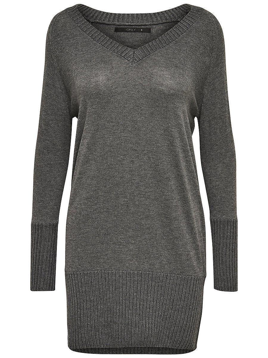 ONLY Ruimvallend gebreide jurk grijs