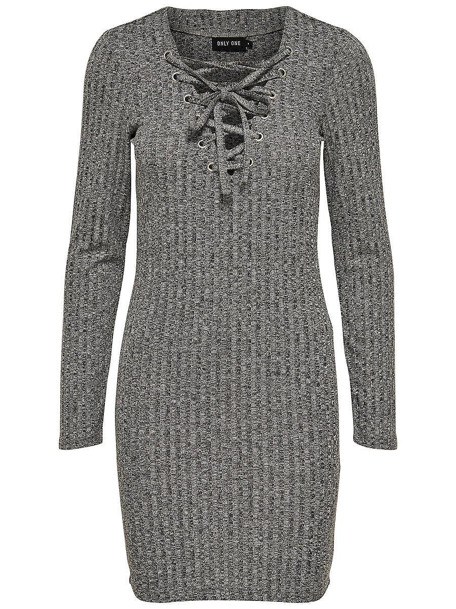 ONLY Lace-up jurk met lange mouwen grijs