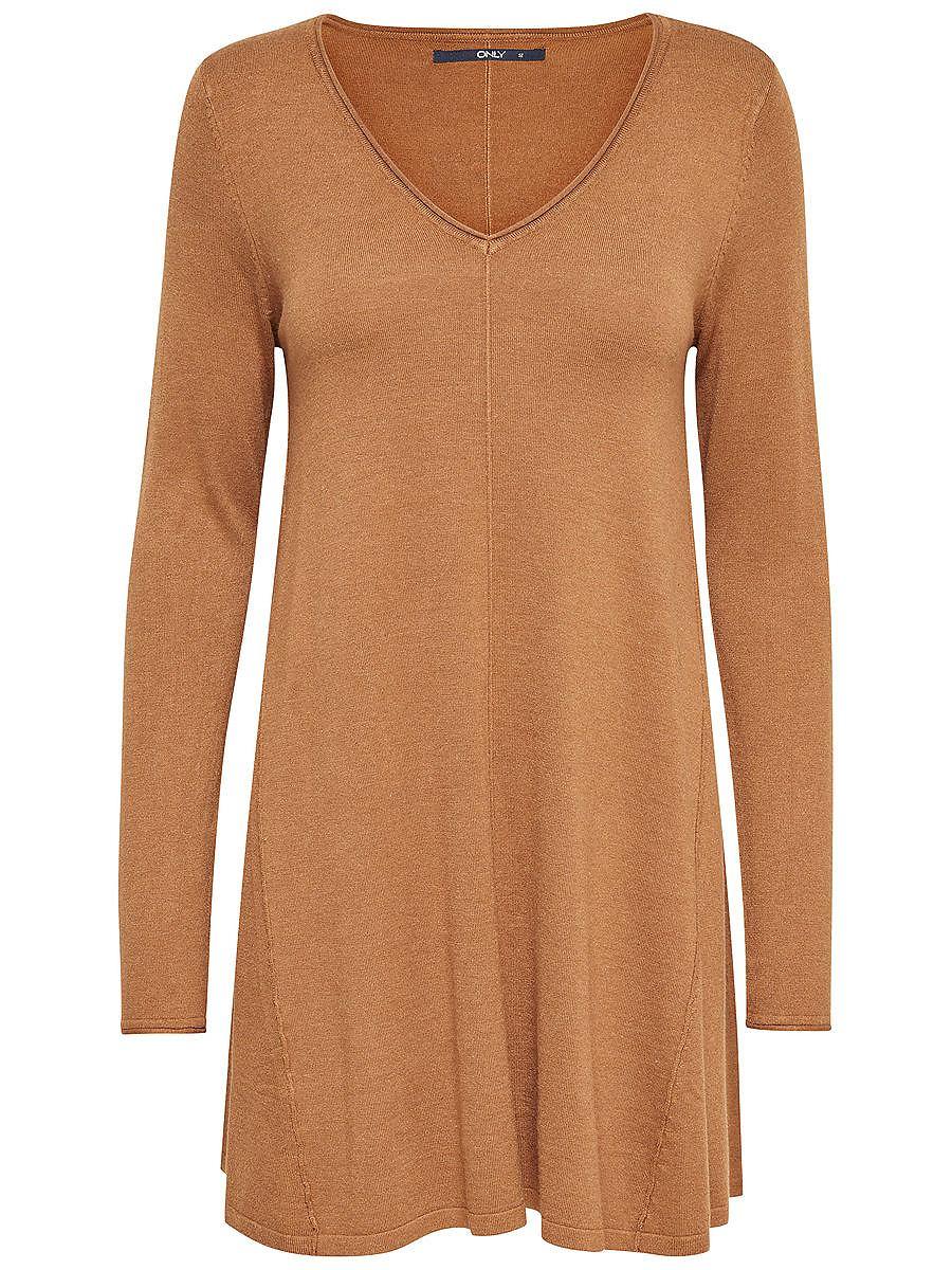ONLY Ruimvallende gebreide jurk bruin