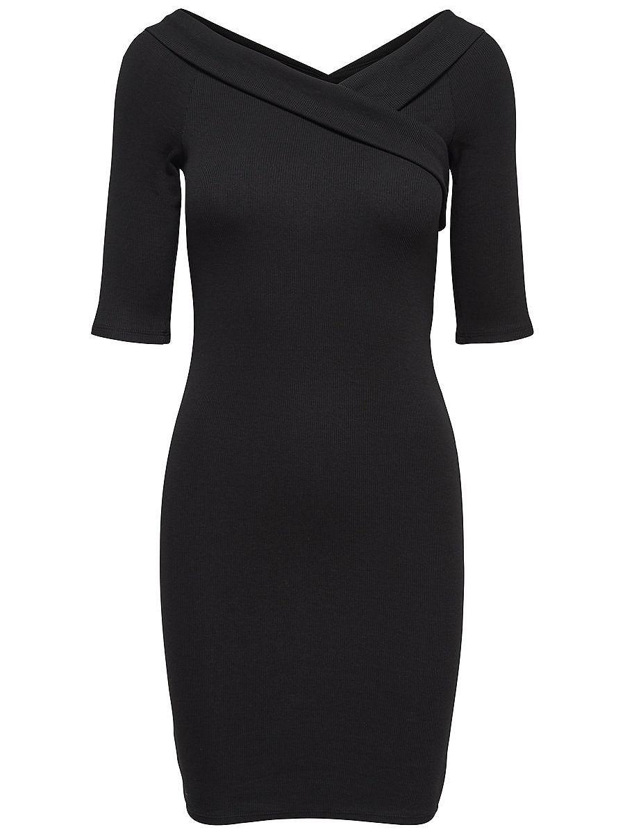 ONLY Wikkel jurk met korte mouwen zwart