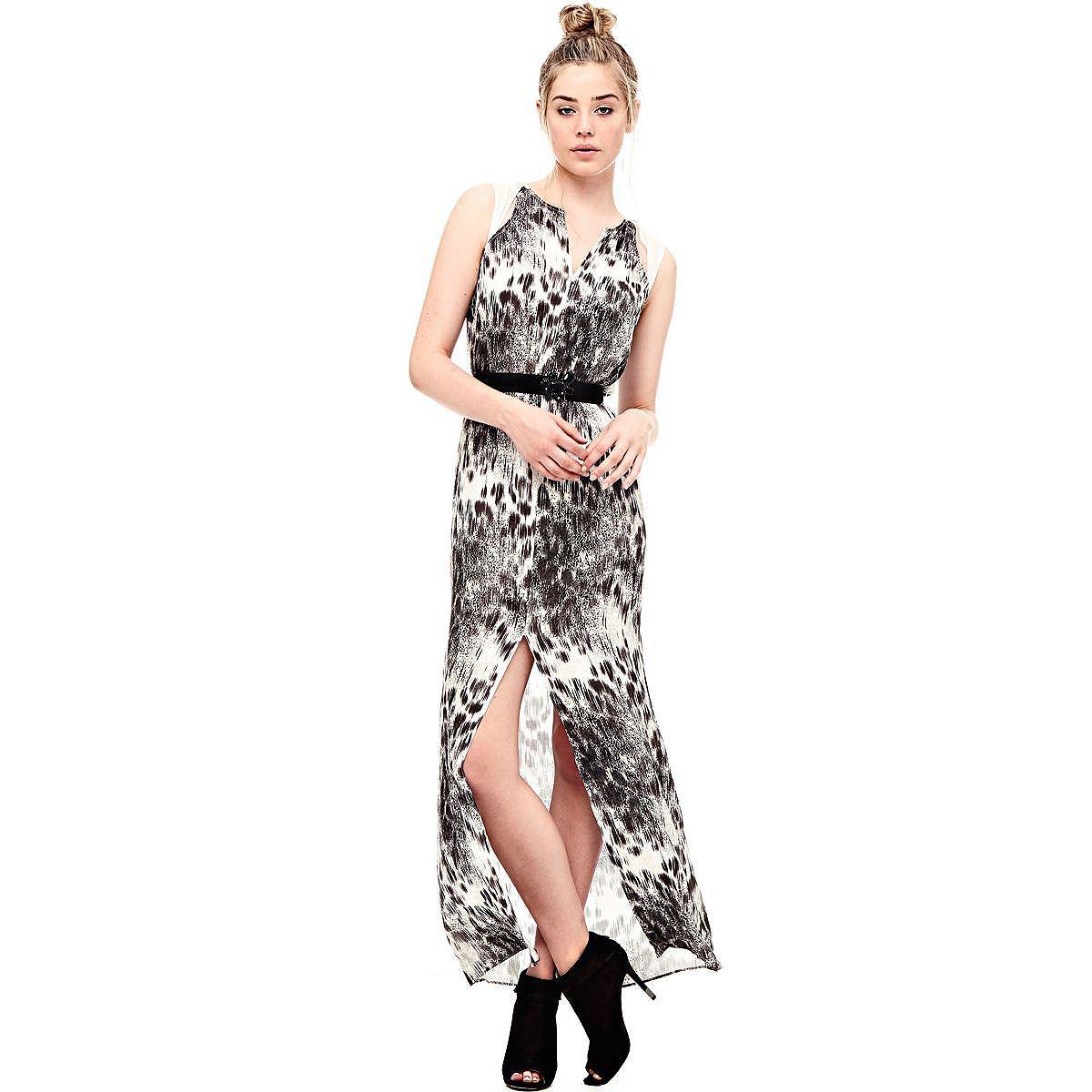 Guess lange jurk van viscose grijs