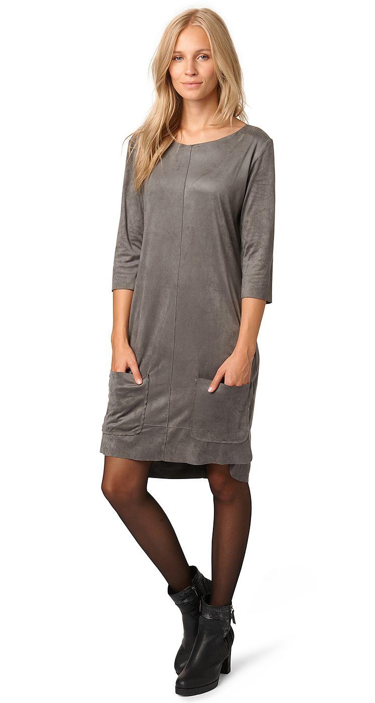 Tom Tailor jurk »jurk met veloursleer-look« grijs