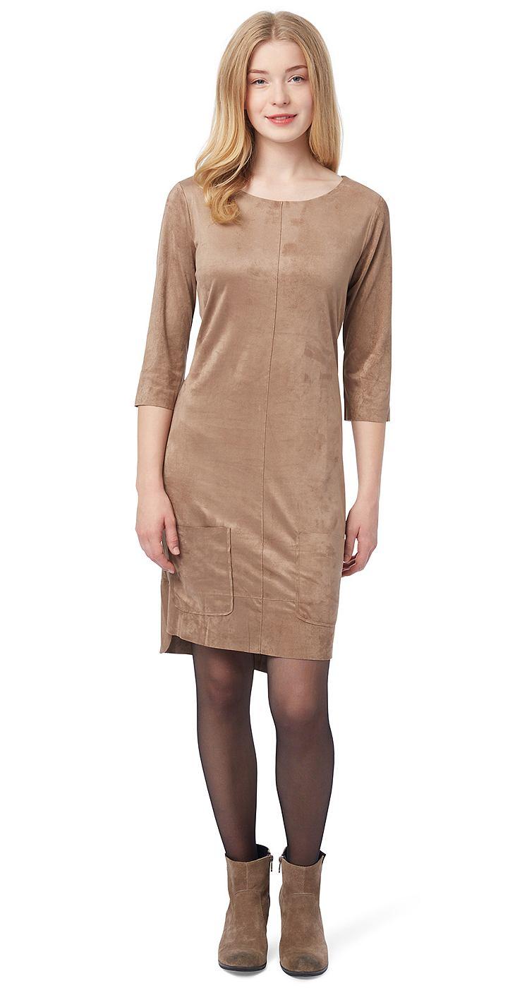Tom Tailor jurk »jurk met veloursleer-look« bruin