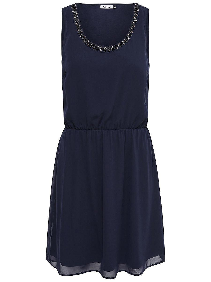 ONLY Gedetailleerde Mouwloze jurk blauw