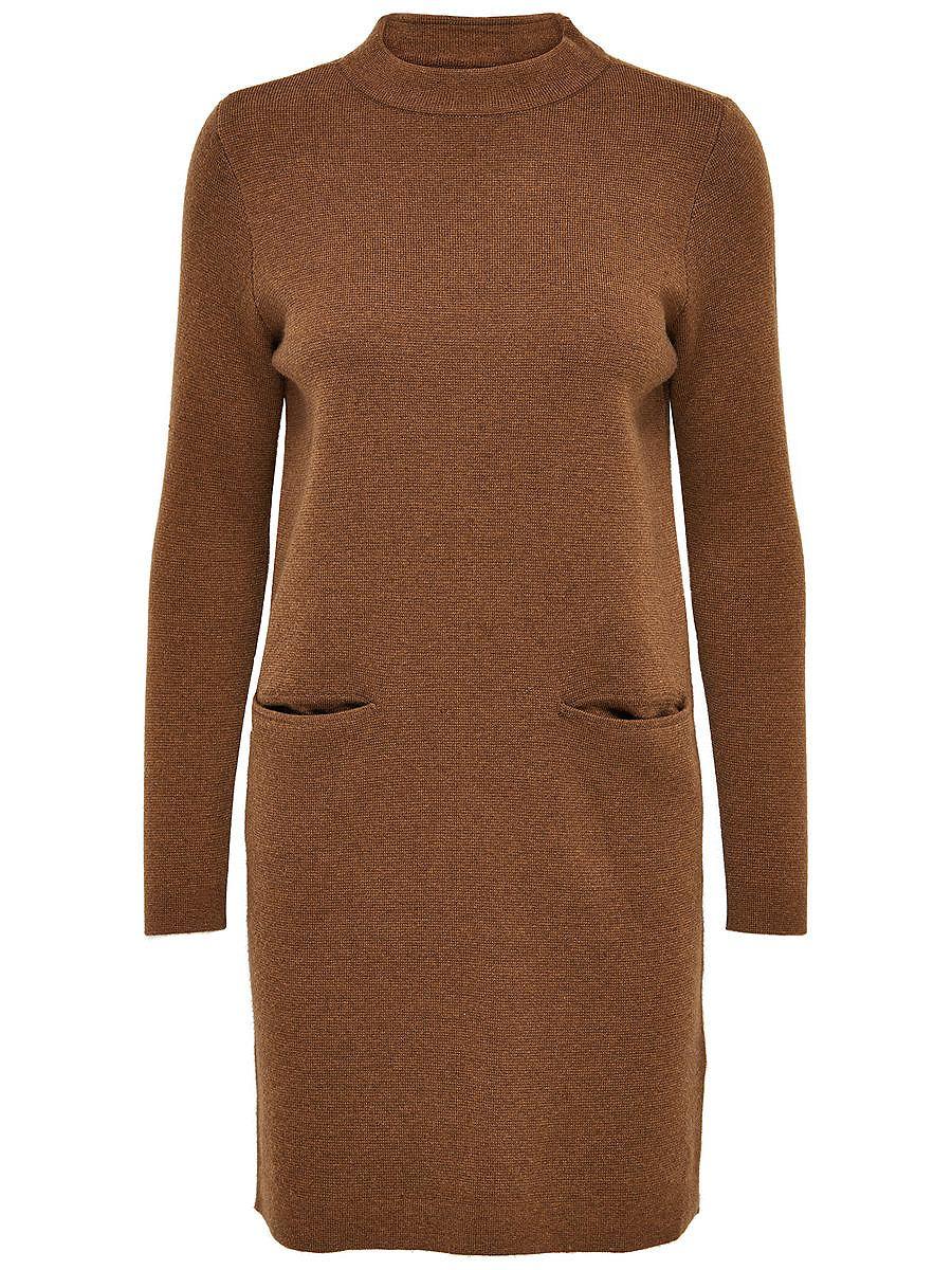 NU 21% KORTING: ONLY Ruimvallende gebreide jurk bruin