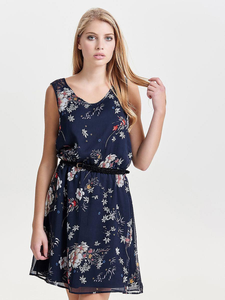 ONLY Bloemenprint Mouwloze jurk blauw