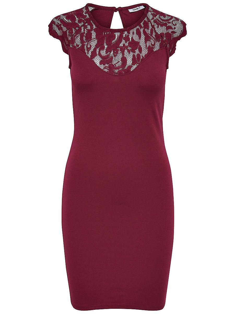ONLY kanten Mouwloze jurk rood