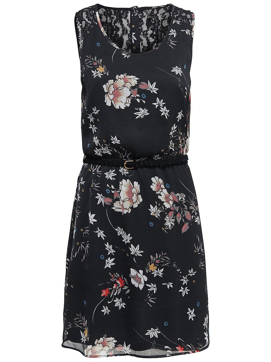 ONLY Bloemenprint Mouwloze jurk zwart