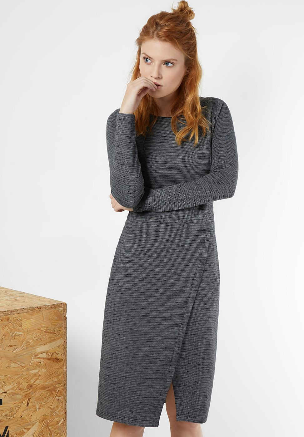 Street One jurk met wikkelrok Kelly grijs