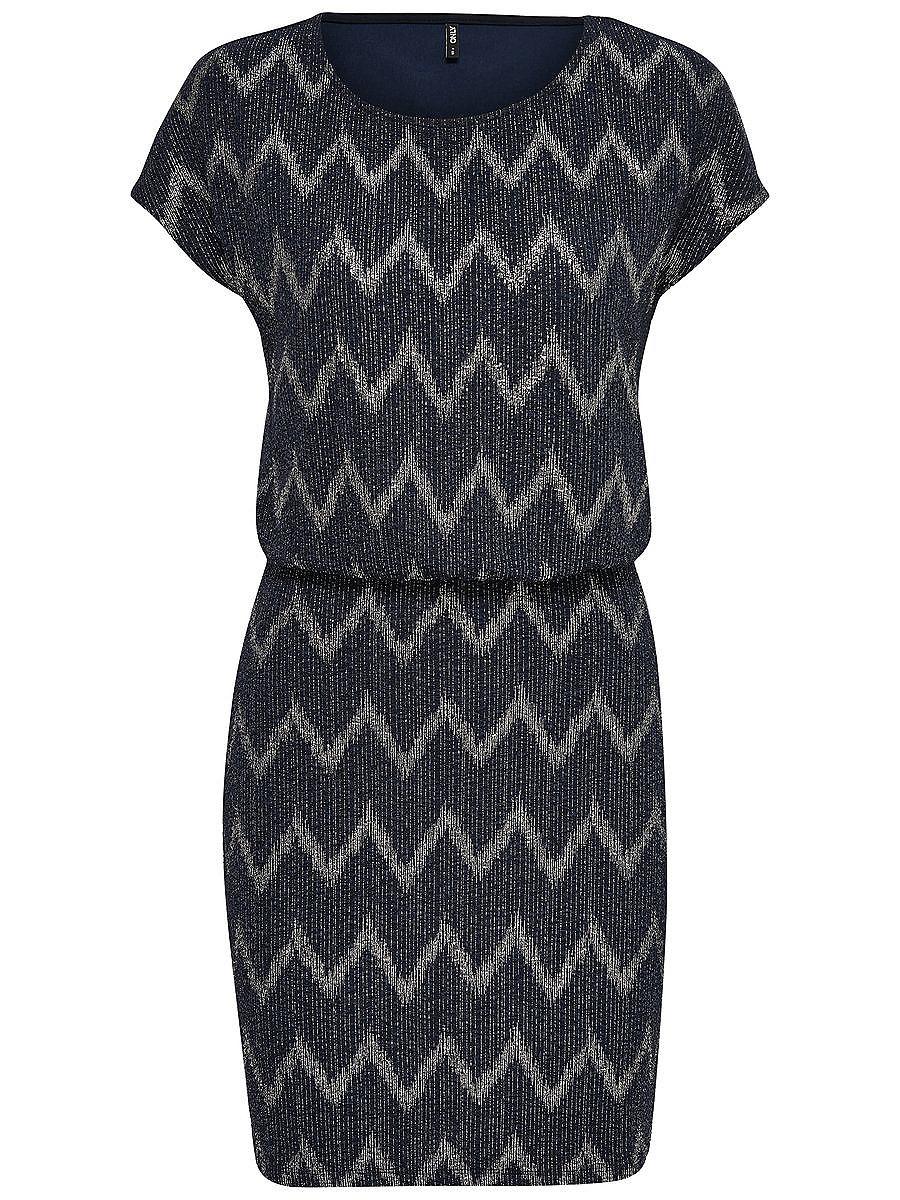 ONLY Gedessineerde jurk met korte mouwen blauw