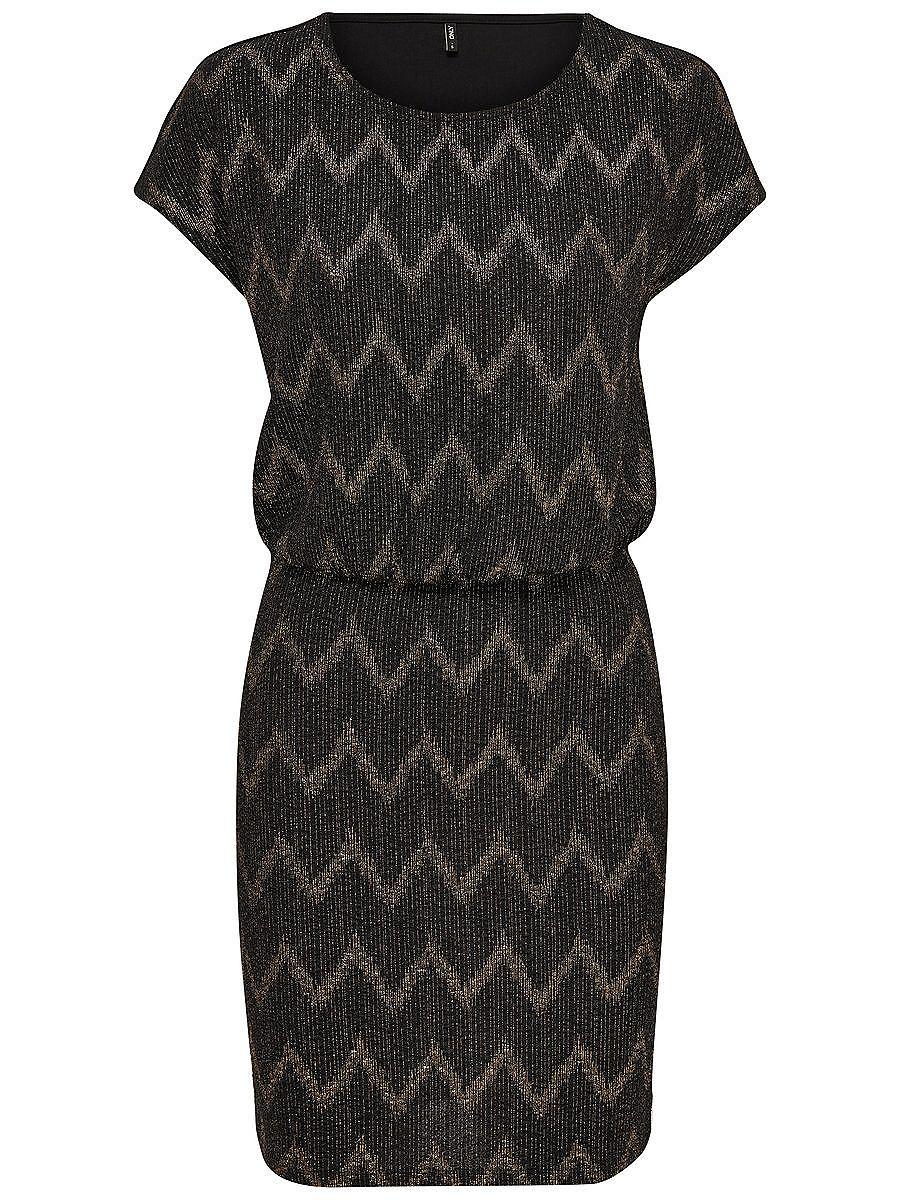 ONLY Gedessineerde jurk met korte mouwen zwart