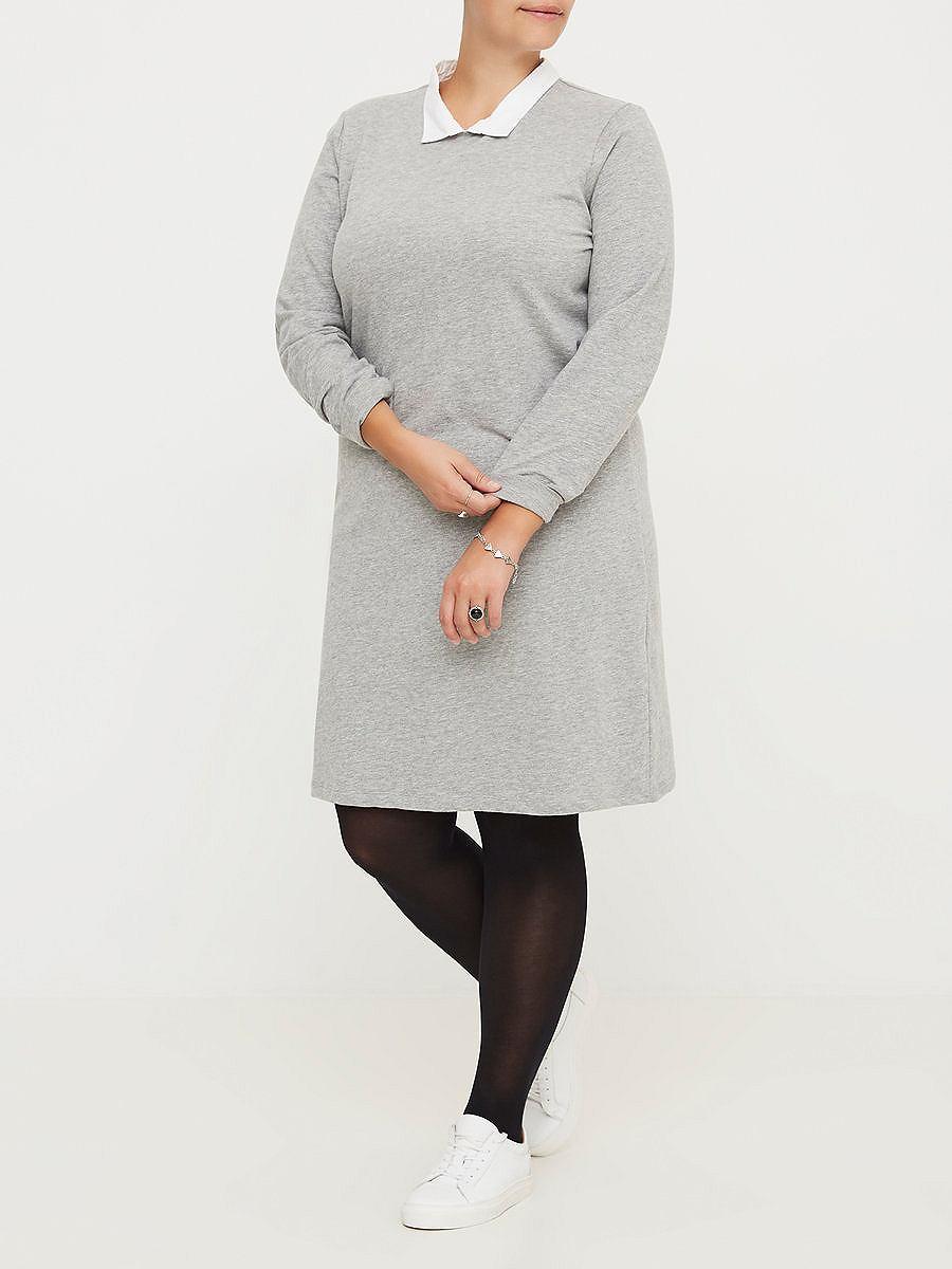 Junarose Lange mouw jurk grijs