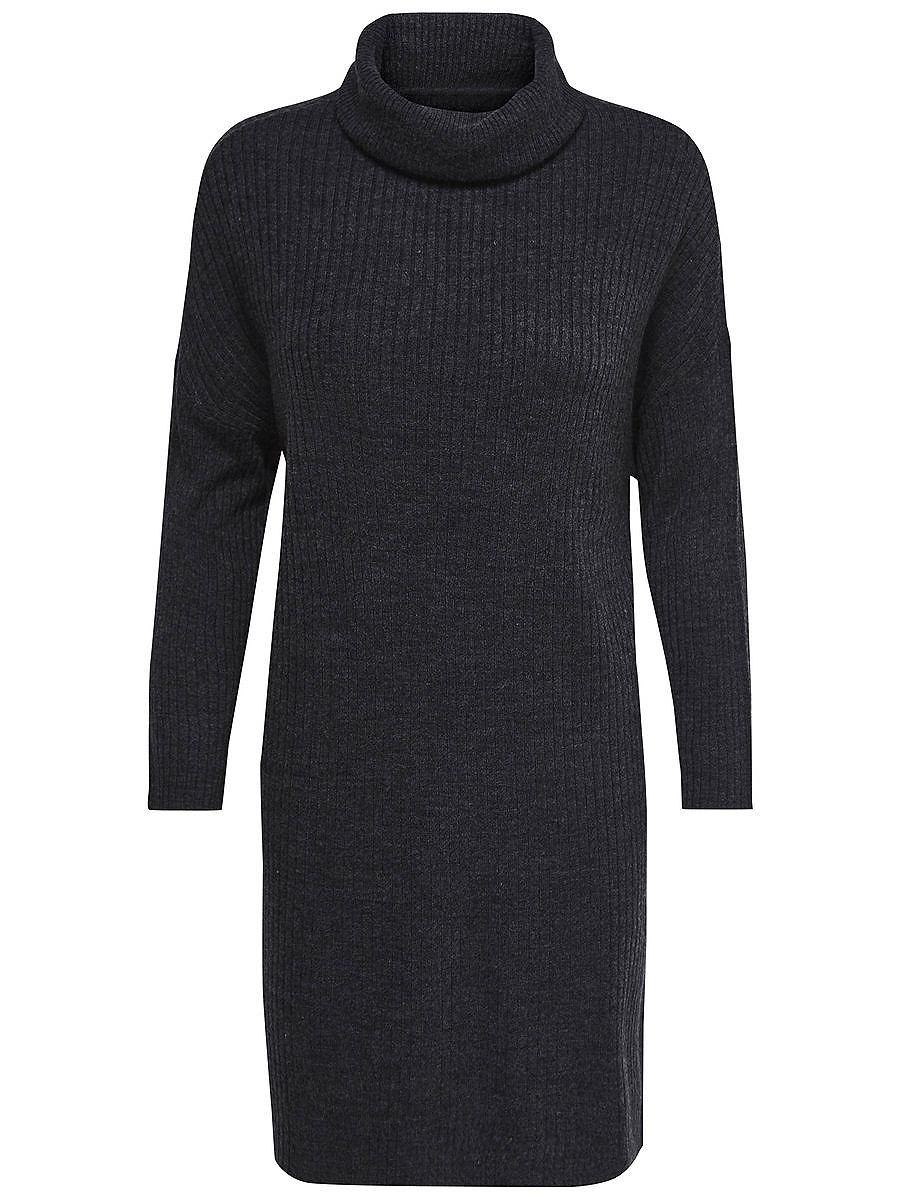ONLY Hoge kraag gebreide jurk grijs