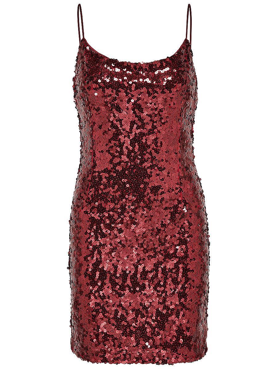 ONLY pailletten Mouwloze jurk rood