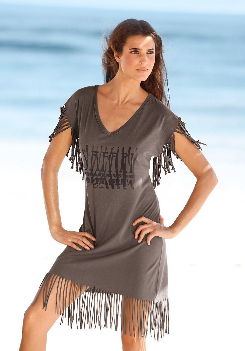 Longline-shirt Beachtime groen