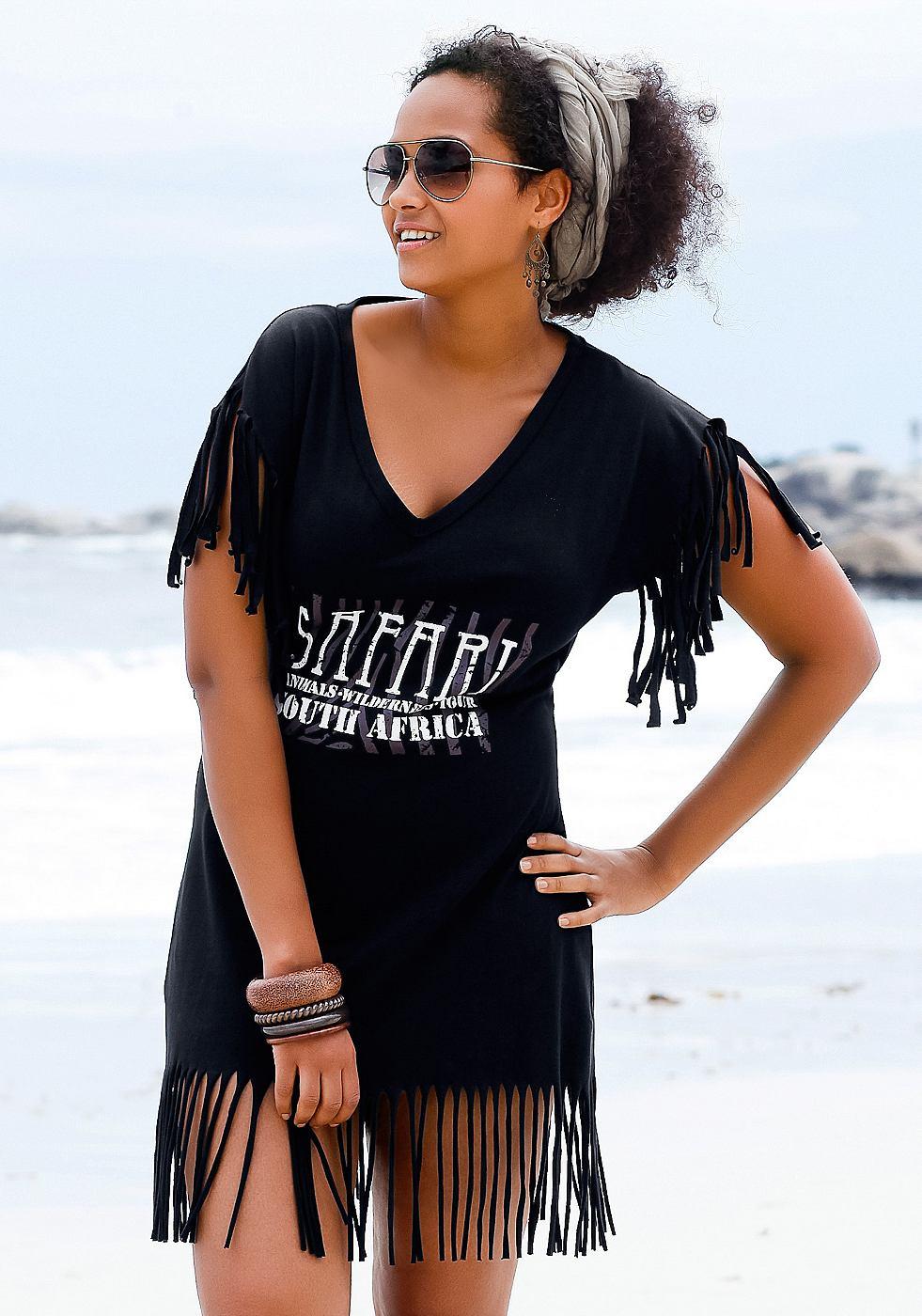 Longline-shirt Beachtime zwart