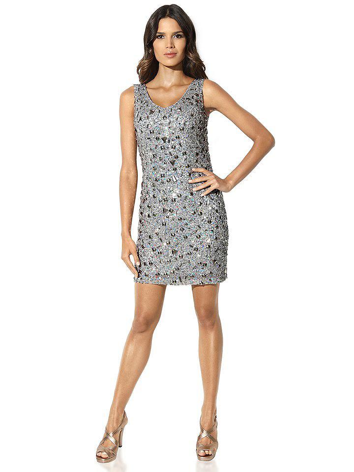 Ashley Brooke jurk met pailletten grijs