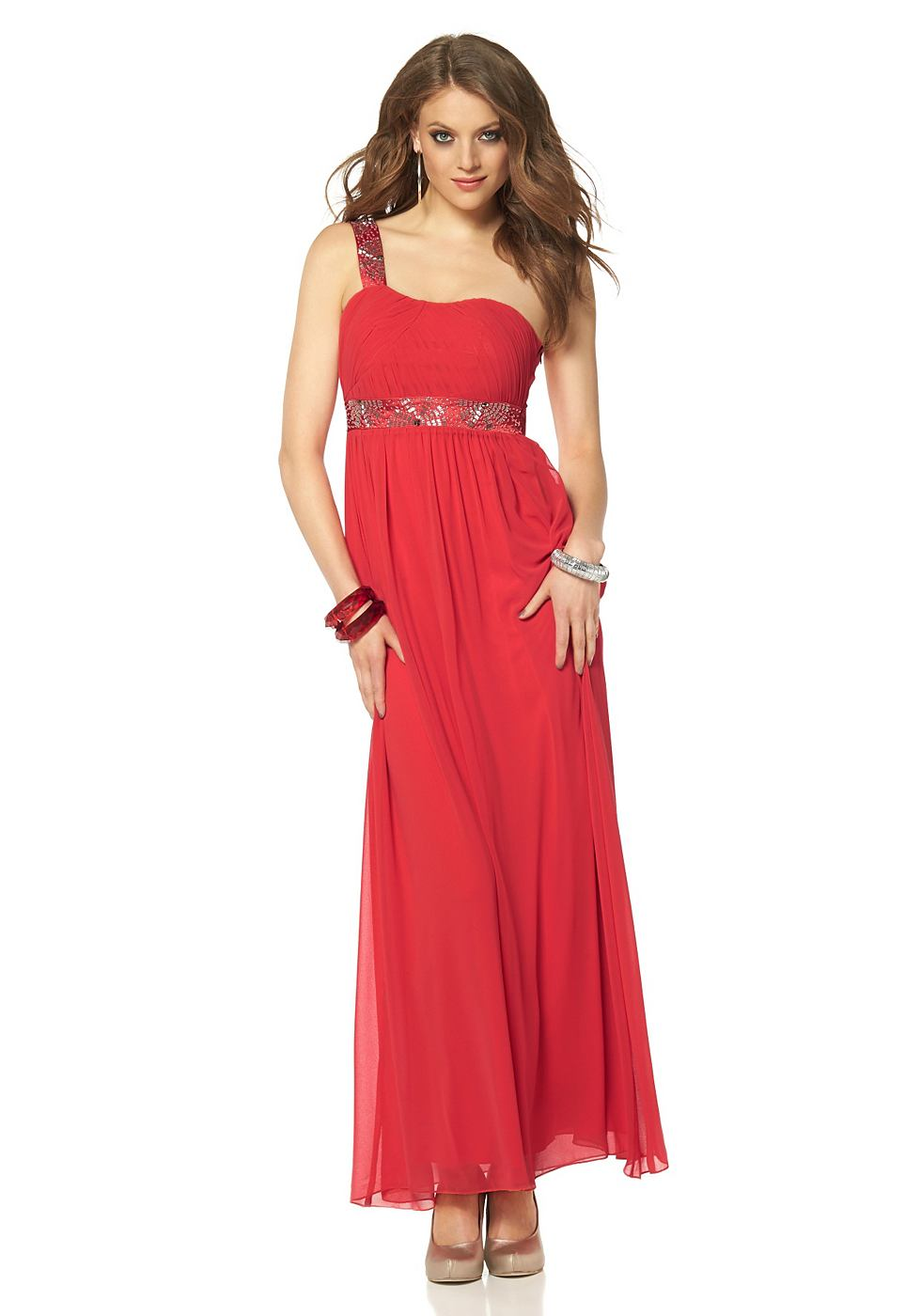 Laura Scott Avondjurk in asymmetrische look rood