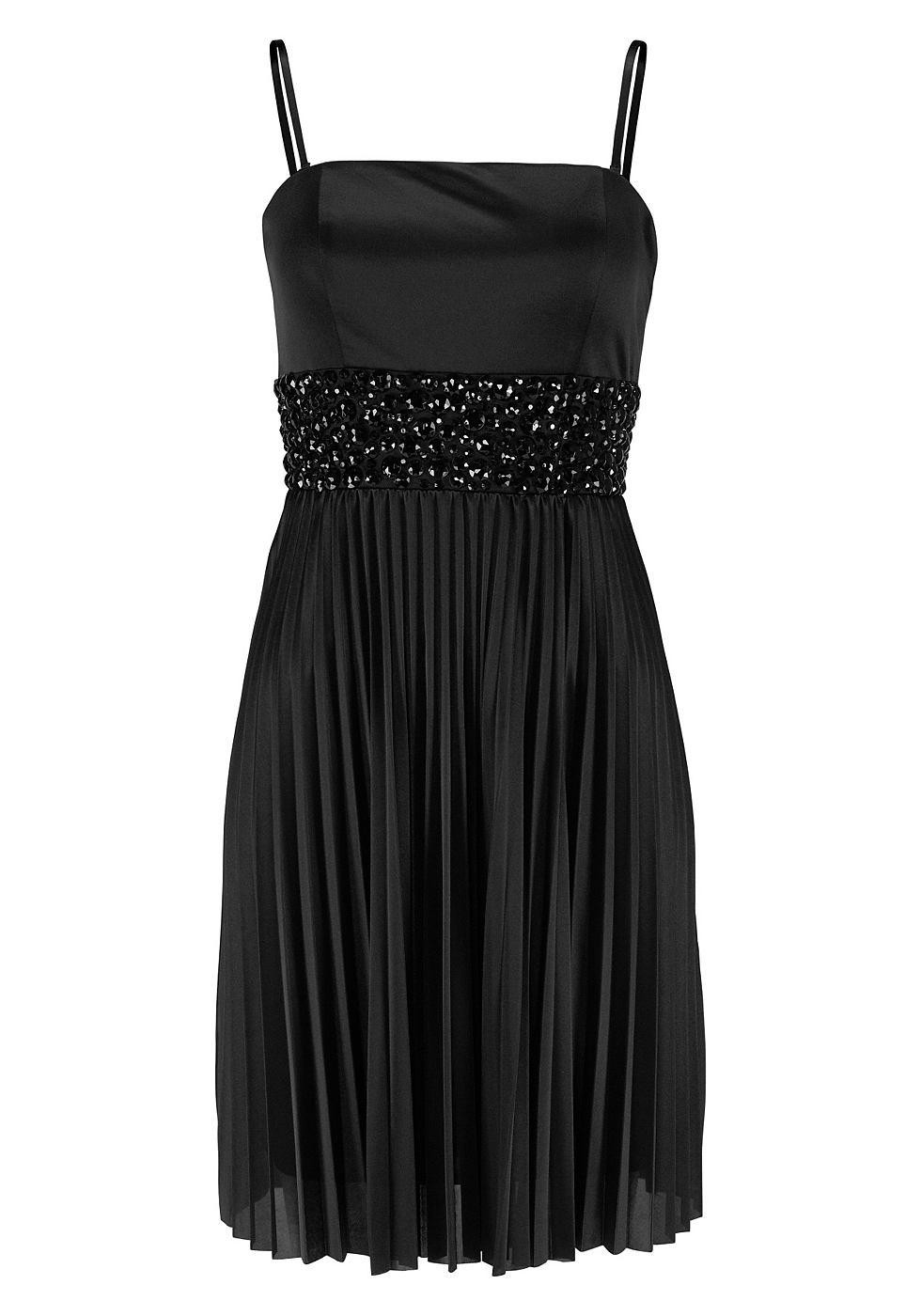 Laura Scott EVENING Plisse-jurk met sierstenen zwart