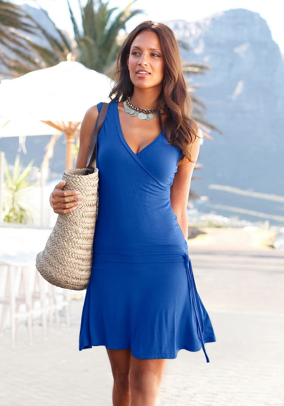 Beachtime Strandjurk in wikkel-look blauw