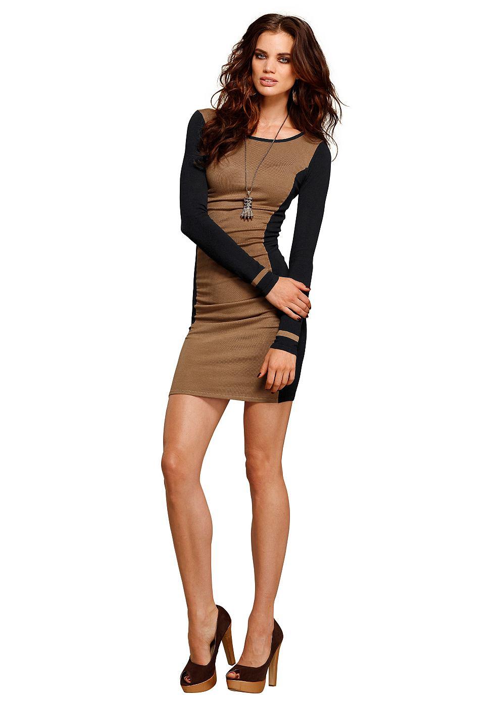 Laura Scott Tricot-jurk in colourblocking-look zwart