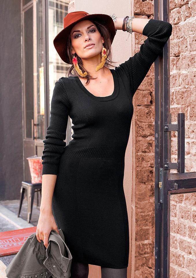 Aniston Tricot-jurk met verschillende breimotieven zwart