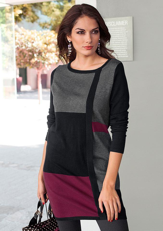 Vivance Collection Lange trui resp. tricot-jurk zwart