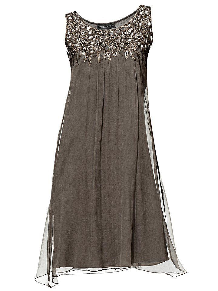 jurk met pailletten beige